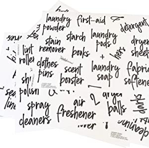 Talented Kitchen 141 Laundry Room & Linens Closet Organization Labels. Script, Preprinted Stickers. Clear, Water Resistant Labels for Canister Baskets & Bins (Laundry Room & Linens - 141 Black Labels)