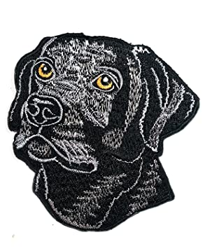 Parche bordado para coser o planchar con dibujos de perro negro para coser o planchar con