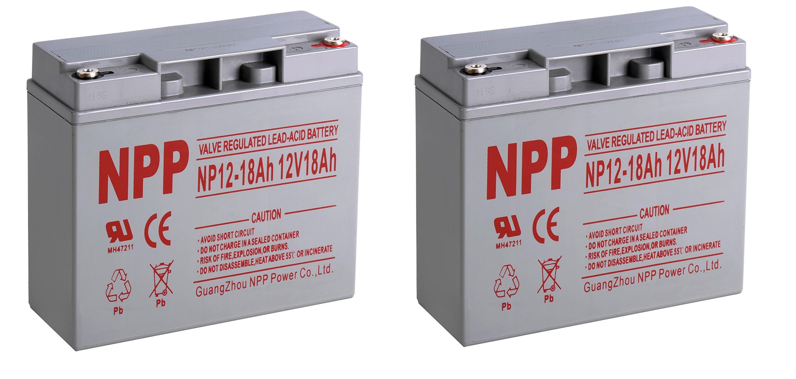 NPPower NP12-18Ah Sealed Lead Acid 12Volt 18Ah Battery Button Style Terminals/(2pcs)
