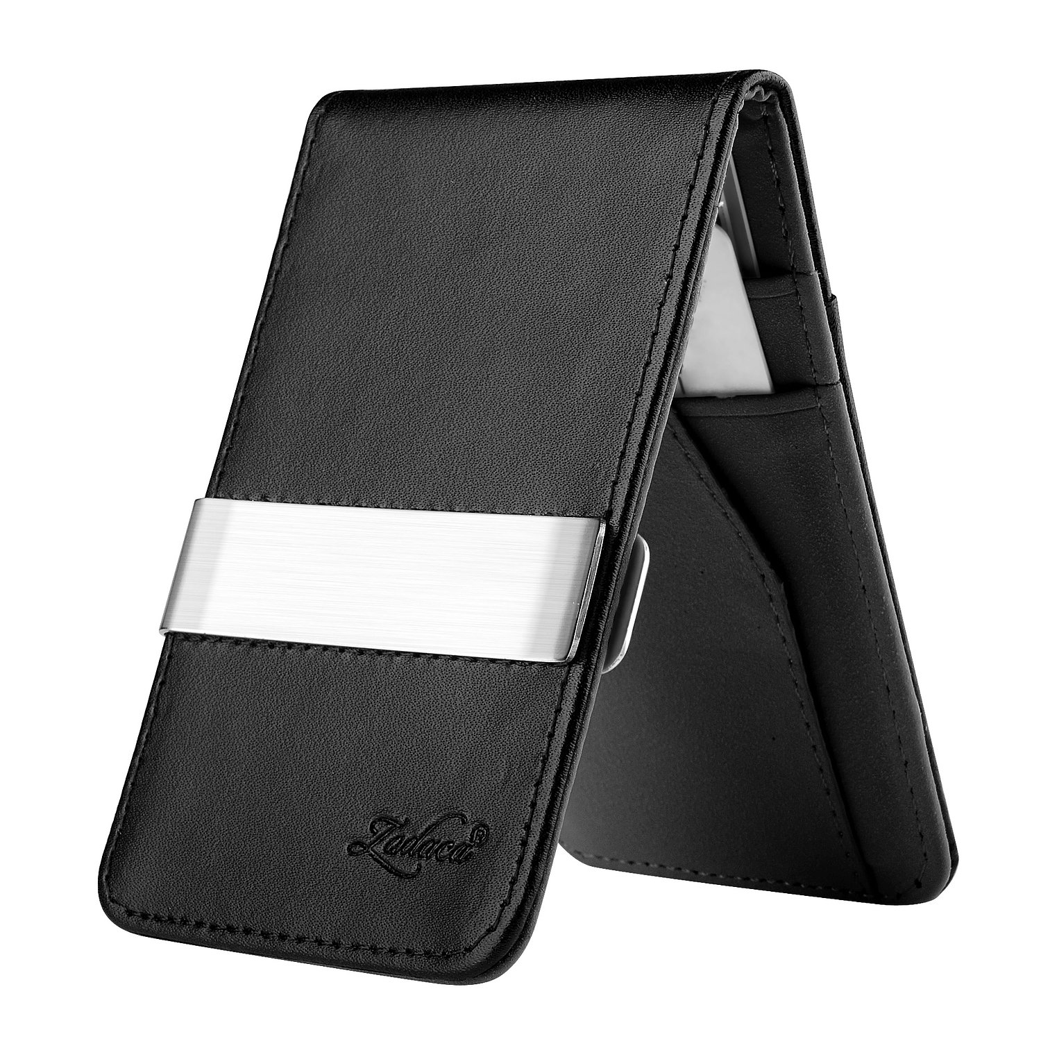 Zodaca genuine leather business card holder expandable zodaca horizontal genuine leather money clip wallet pvc detachable card holder magicingreecefo Choice Image