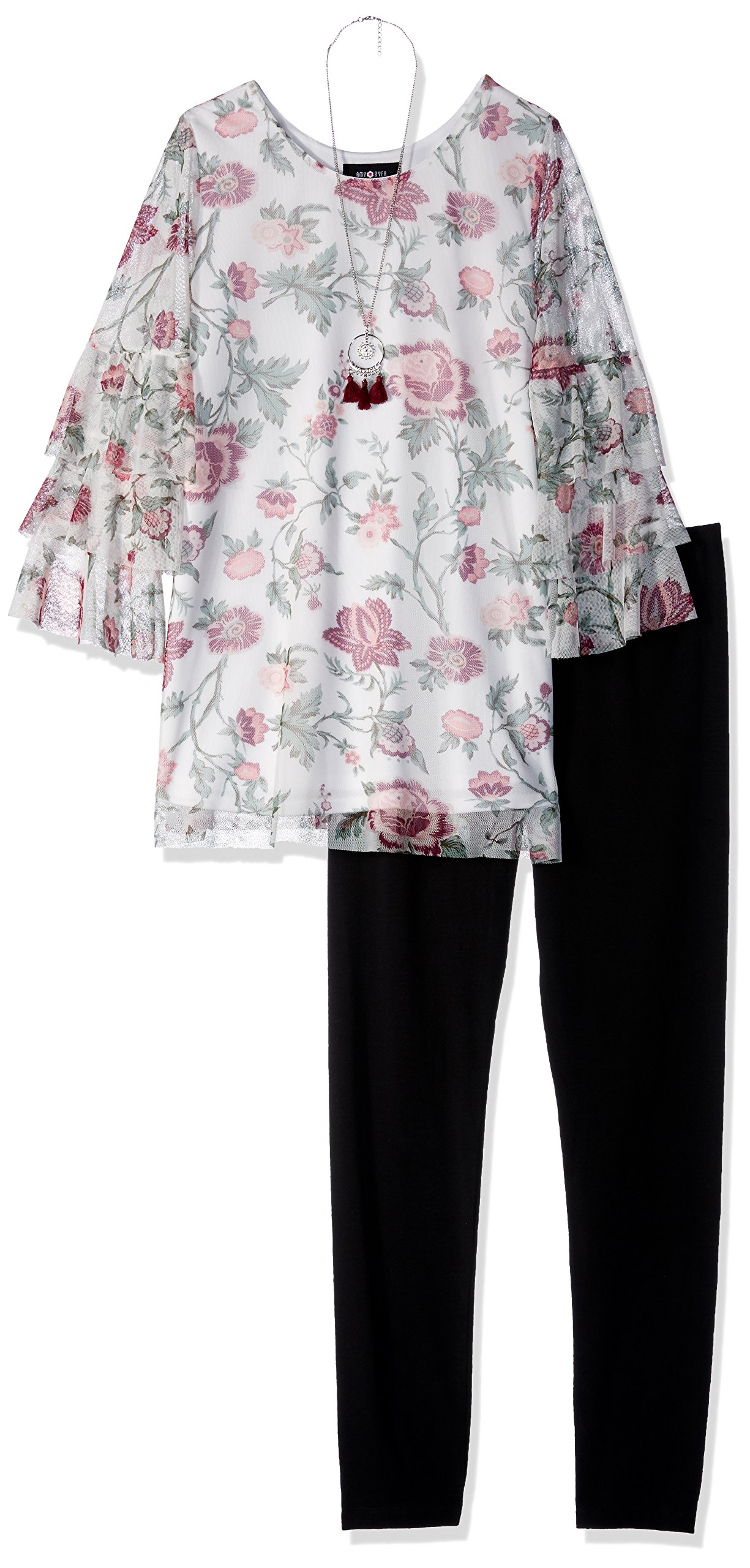 Amy Byer Big Girls' Long Sleeve Top and Legging Outfit Set, Swirling Floral/Black, S