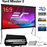 "Elite Screens Yard Master 2, 135 inch Outdoor Projector Screen with Stand 16:9, 8K 4K Ultra HD 3D Fast Folding Portable Movie Theater Cinema 135"" Indoor Foldable Easy Snap Projection Screen, OMS135H2"