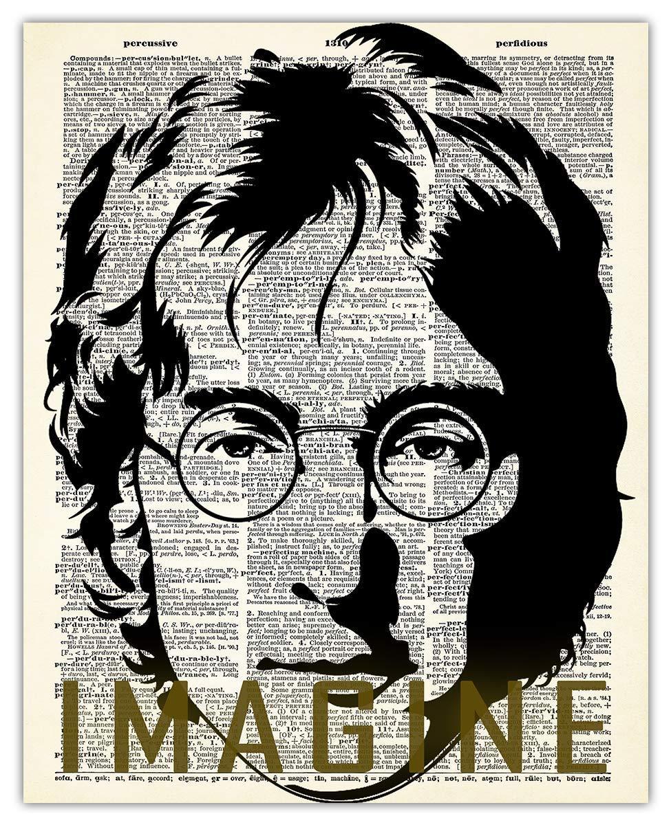 John Lennon Imagine Dictionary Wall Art Print - (8x10) Photos Unframed Make Great Room Wall Decor Gift Idea Under $15