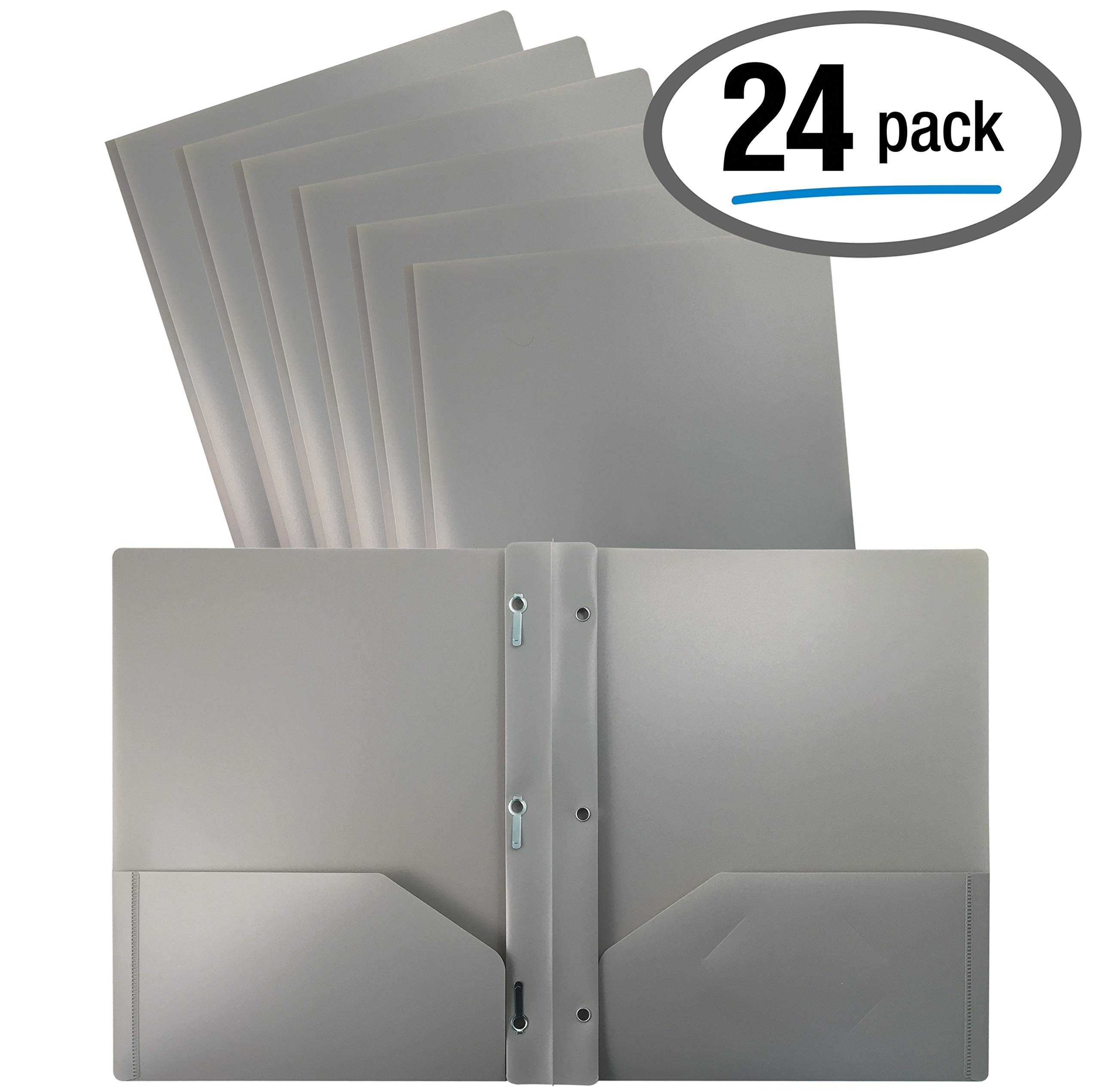 Better Office Products Gray Plastic 2 Pocket Folders with Prongs, 24 Pack, Heavyweight, Letter Size Poly Folders with 3 Metal Prongs Fastener Clips, Gray by Better Office Products