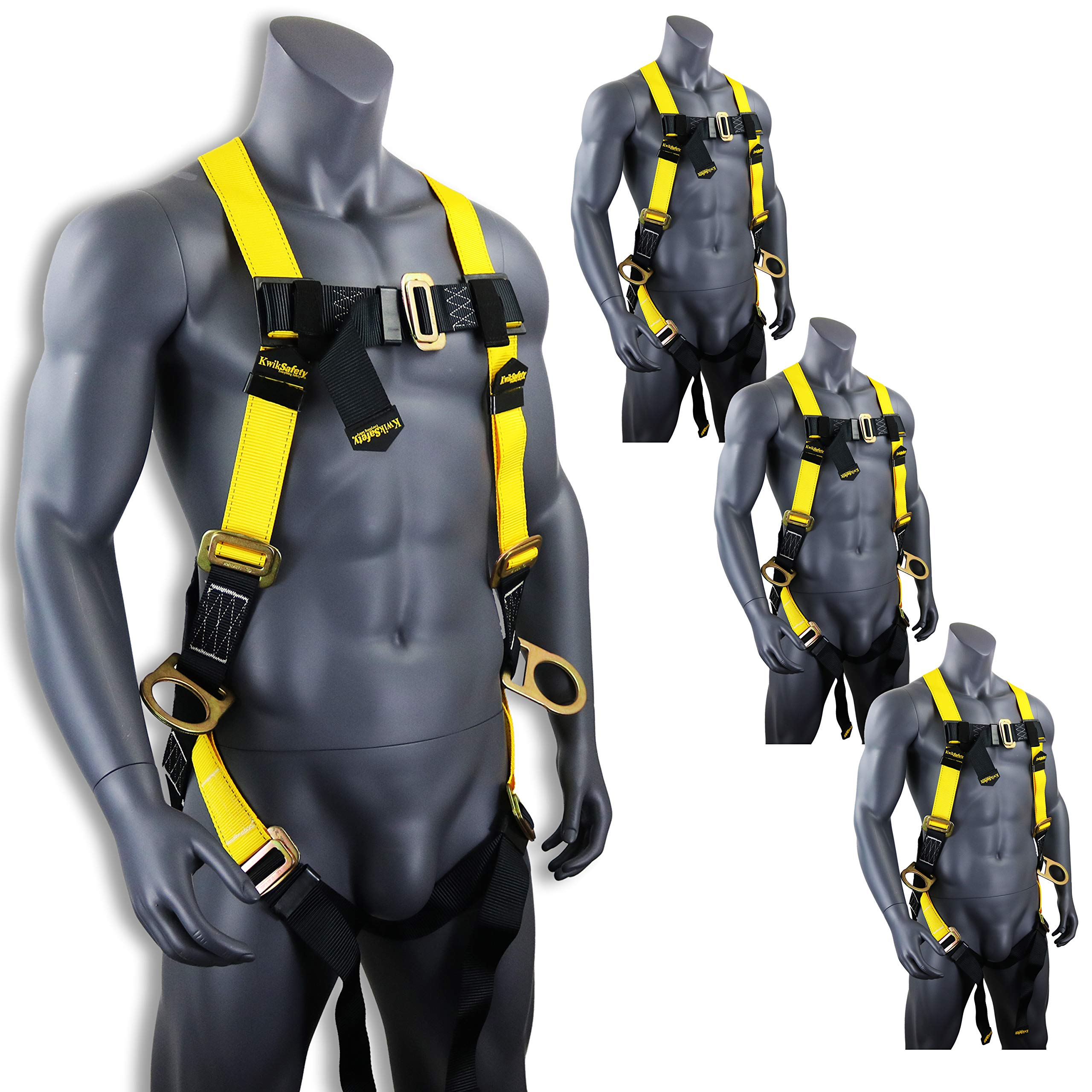 KwikSafety (Charlotte, NC) THUNDER (4 PACK) | OSHA ANSI Fall Protection Full Body Safety Harness | Personal Protective Equipment Dorsal Ring Side D-Rings | Universal Construction Industrial Roofing