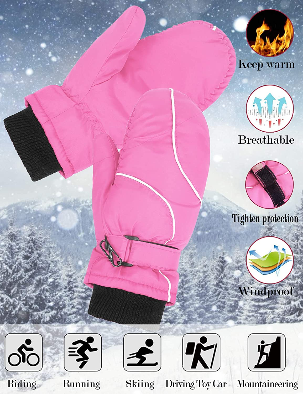 Hawiton Kids Winter Windproof Ski Mittens Snow Gloves for Boys Girls Cycling Biking Hiking Skiing Motorcycle Outdoor Sports