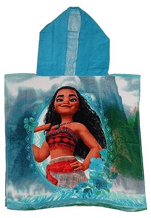 Disney - Toalla tipo poncho para niños, diseño de Vaiana, con licencia oficial de Disney, algodón, Turquesa, 50 x 50 CMs: Amazon.es: Hogar