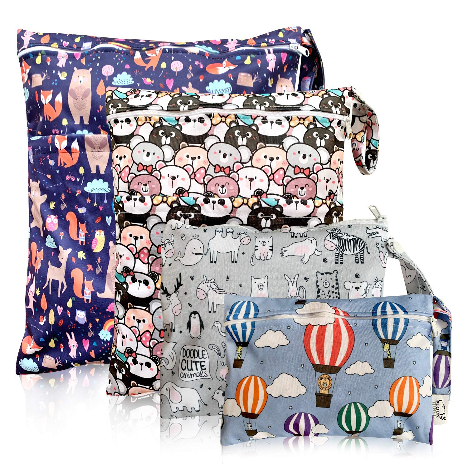 Diaper Cloth Waterproof Reusable Wet Bags with Zippered Snap Handing for Travel Pool Beach Daycare Toddler Soiled Yoga Gym Bag Swimwear Bathing Suit or Wet Clothes,4 pcs, Fantasy Wet Dry Bag