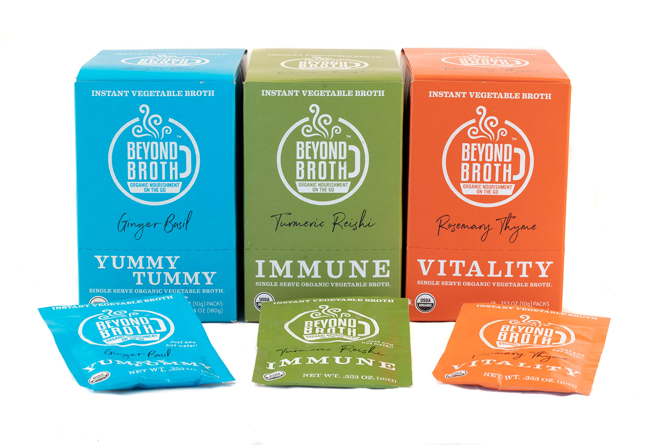 Beyond Broth - Instant Vegan Sipping Broth (Variety, 18 Pack) - Organic Vegetable Broth Powder For On The Go Or Cooking - Keto, Paleo, and Whole30 Friendly by Beyond Broth