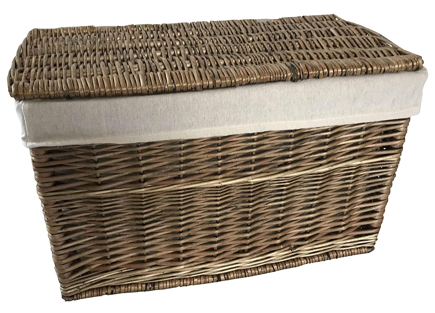 Antique Wash Wicker Willow Storage Chest Trunk Hamper Lined (Small: L 54 x W 29 x H 33cm) Home-ever