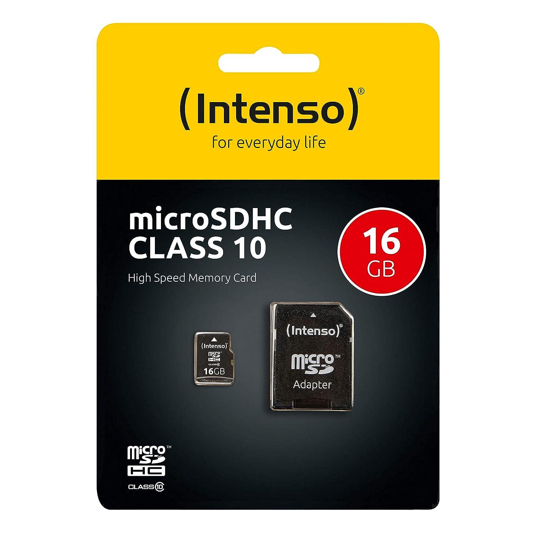 Intenso 3413470 - Tarjeta Micro SD de 16 GB (Adaptador SD Incluido, Clase 10), Color Negro