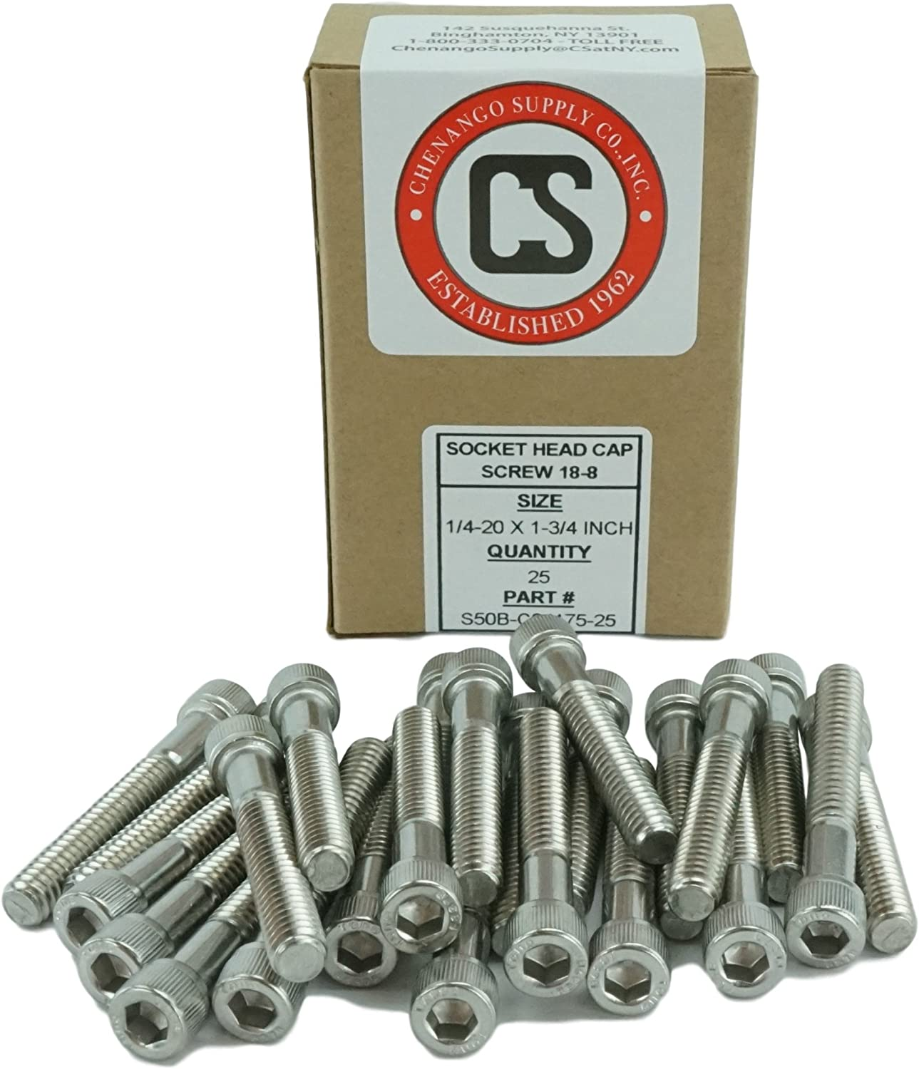 Stainless 1//4-20 x 2 1//4-20 x 2 1//2 to 3 Available Coarse Thread Stainless Steel 18-8 Socket Head Cap Screws Full Thread Hex Drive