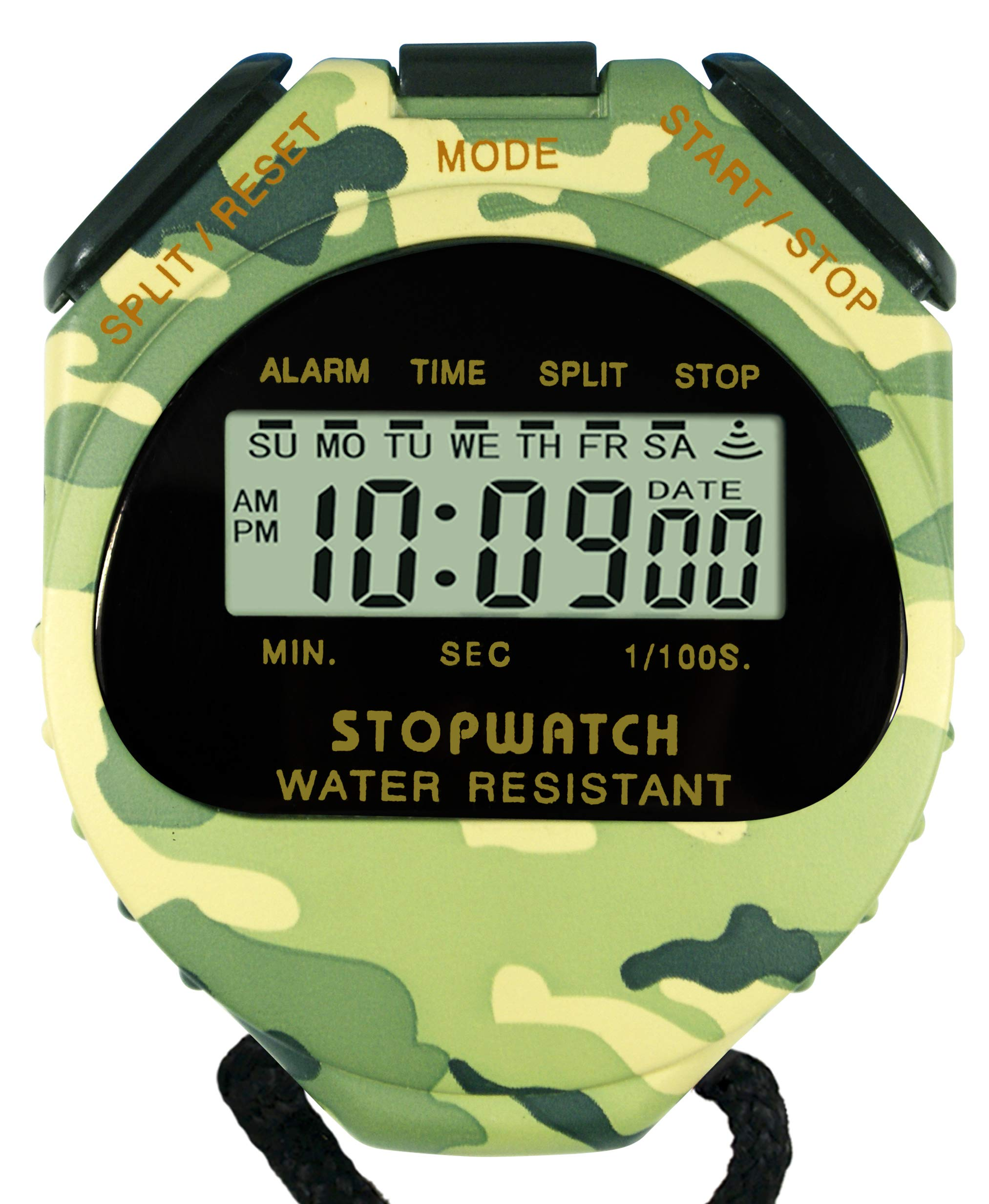 Globalwave Chronograph Water Resistant Stop Watch Waterproof Stopwatch Timer, Large Display for Fitness Swimming Outdoor School Training and Military use (Army Green, Camouflage)