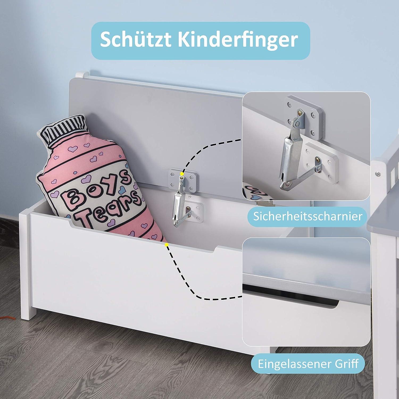 Aufbewahrungstruhe ab 3 Jahren 60 x 30 x 55 cm HOMCOM Spielzeugkiste Grau Massivholzbeine Truhenbank Sitzbank mit Stauraum
