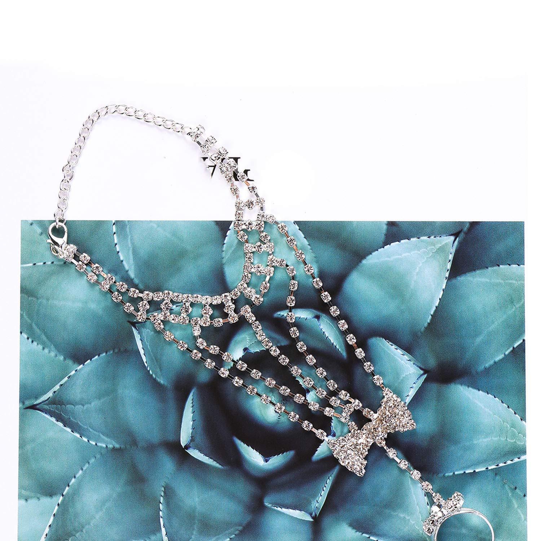 AMBER DAVIDSON Fashion Girl Women Accessories Rhinestone Bangle Chain Link Bow Bracelet Wedding Party Gifts