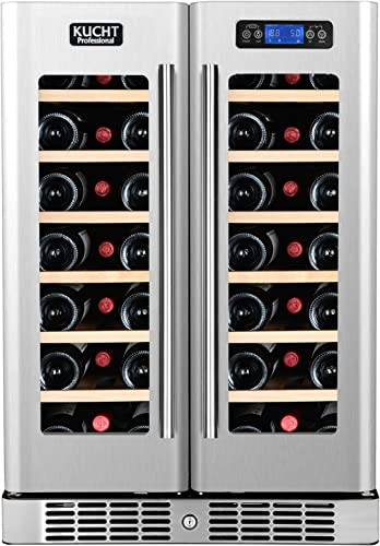 Kucht K148AH22 40-Bottle Dual Zone Wine Cooler Built-In with Compressor, Stainless Steel