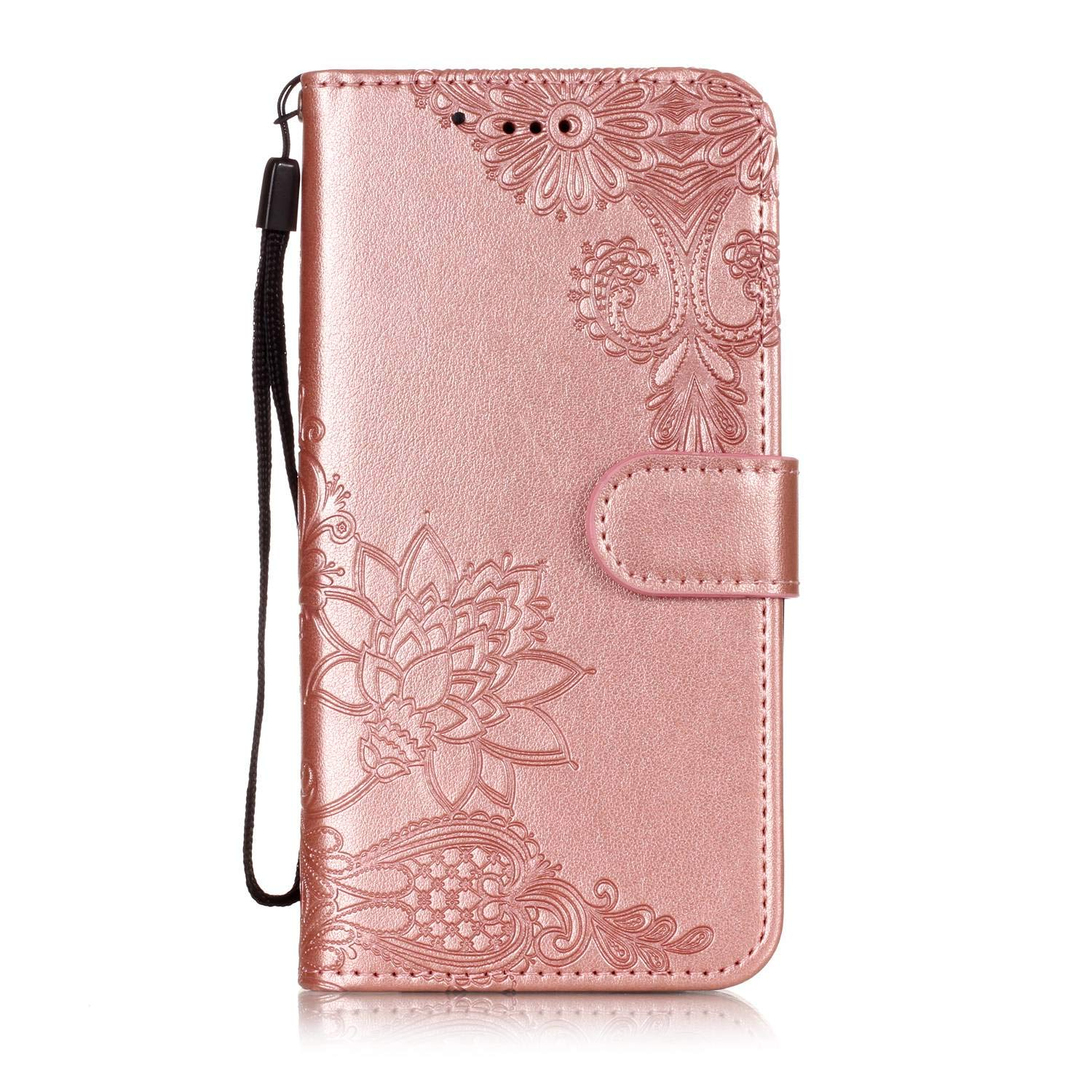 AIIYG DS,LG K30 Case,LG Premier Pro LTE/Phoenix Plus Wallet Case,Classic 3D Mandala Pattern [Kickstand Feature] Flip Folio Leather Wallet Case with ID and Credit Card Pockets For LG K10 2018/Rose Gold by AIIYG DS (Image #1)