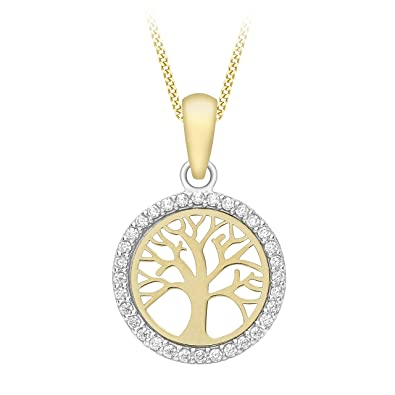 Citerna 9 ct Tree of Life Pendant Necklace with CZ Stones rdCaTDZ