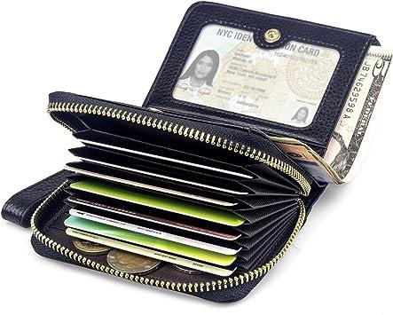 BAGZY Kleine Echt Leder Geldbörse Damen Portemonnaie Reißverschluss Frau Brieftasche Kreditkartenfahrer Halter Clutch Travel Handtasche Visitenkarten