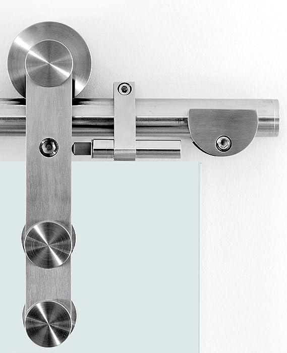 Siebdruck; Edelstahl Laufrollensystem SoftStop; Griffmuschel BP1-900A Schiebet/ürsystem ESG 900x2050x8mm Dekor P1