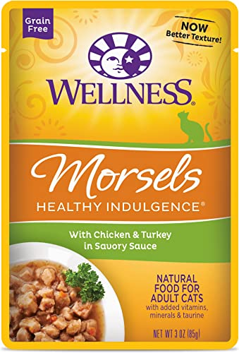 Wellness Healthy Indulgence Natural Grain Free Wet Cat Food Pouches Morsels Chicken Turkey