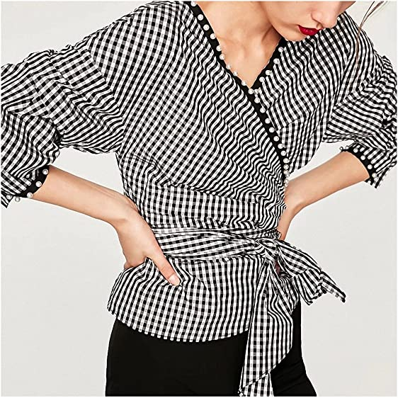 NEW Summer Half Sleeve Plaid Blouse Lace Up Women Sexy V Neck Woman Shirt Elegant Plaid Tops Formal Clothing for Office lady at Amazon Womens Clothing ...