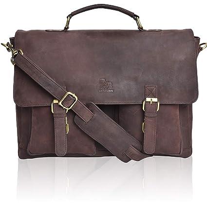 1049f787f3df Amazon.com  Leather Laptop Messenger Bag for Men - Premium Office Briefcase  18