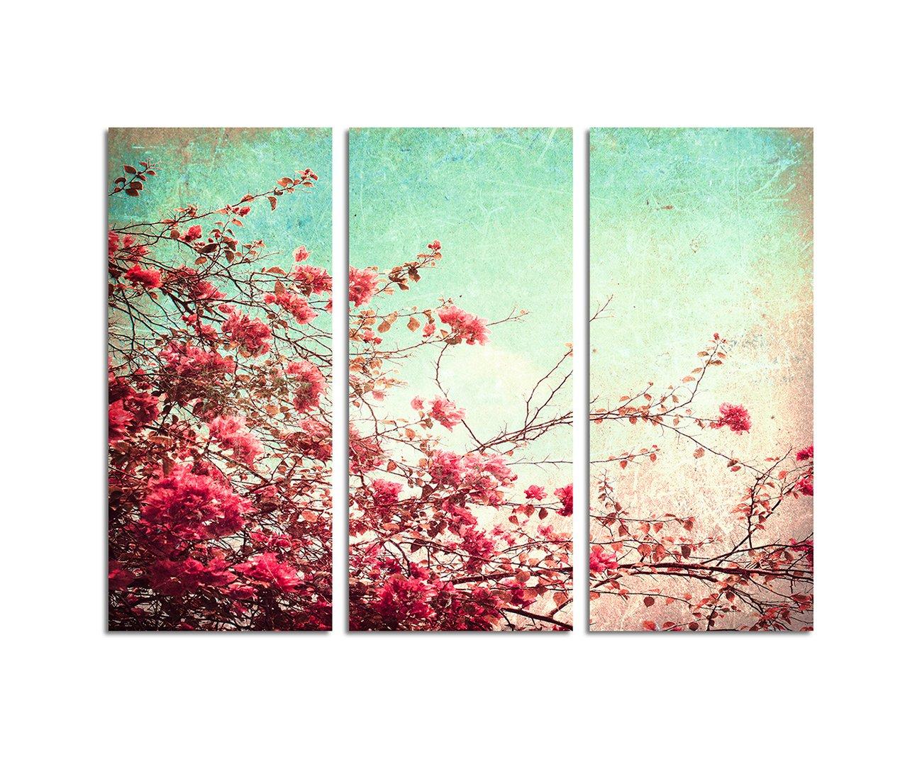 130x90cm – KUNSTDRUCK Blumen Vintage-Look altrosa 3teiliges Wandbild auf Leinwand und Keilrahmen - Fotobild Kunstdruck Artprint Paul Sinus Art