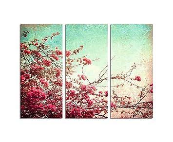 Kunstdruck Leinwand amazon de 130x90cm kunstdruck blumen vintage look altrosa