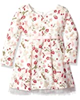 Youngland Toddler Girls' Knit Quilted Vintage Bird Floral Printed Dress