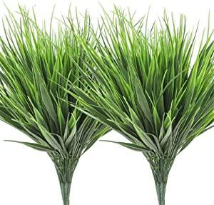 AGEOMET 14pcs Artificial Outdoor Plants Plastic Wheat Grass Greenery Shrubs UV Resistant Fake Outdoor Plants Plastic Shrubs for Outdoor Home Garden Decoration