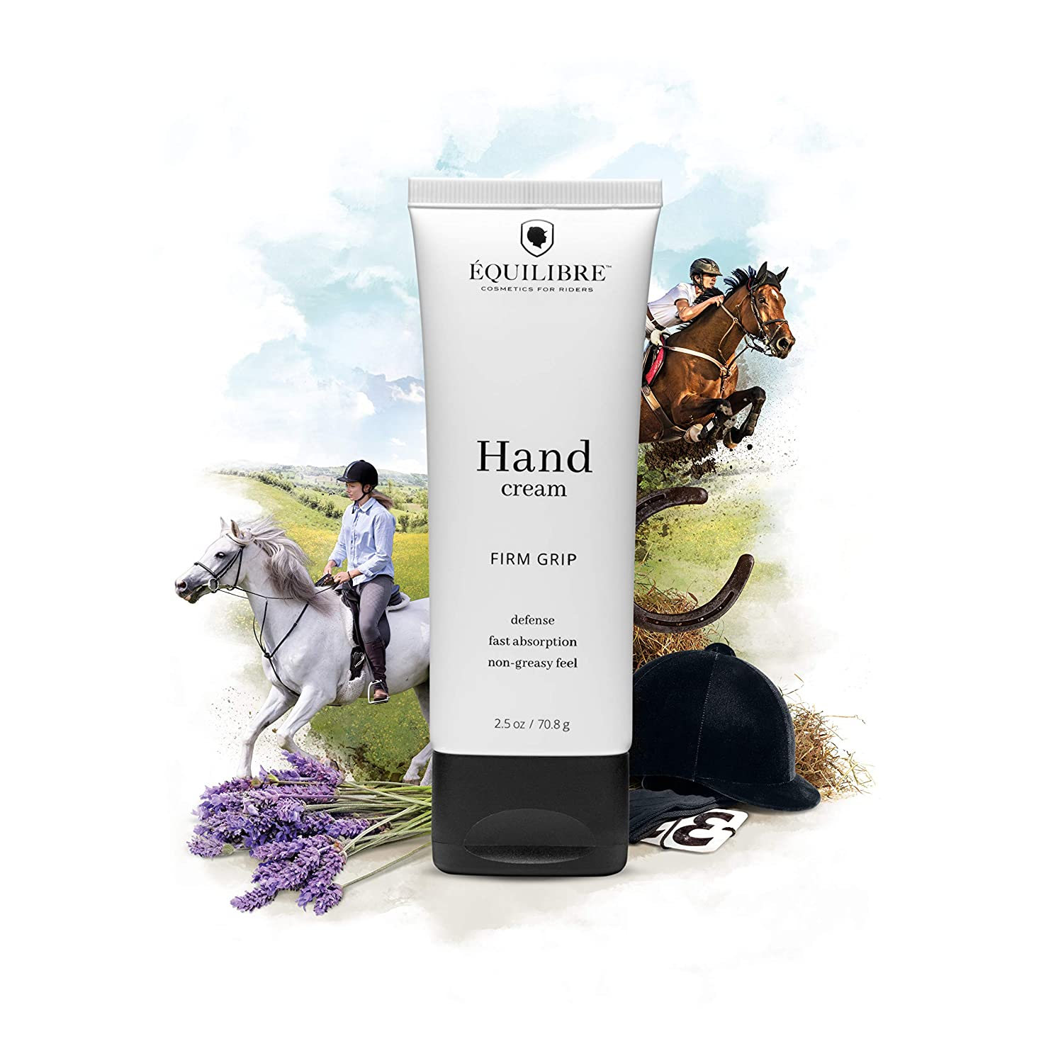 Équilibre – Cosmetics For Equestrians – Hand Cream 'Firm Grip' – Vegan, Cruelty-Free, Organic Lavender Essence, Supports Horse Rescues, Tested on Riders – 2.5 oz / 70.8 g