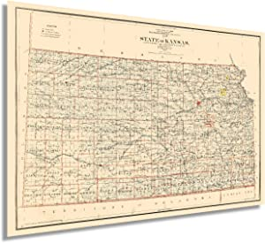HISTORIX Vintage 1898 Kansas State Map - 24x36 Inch Vintage Map of Kansas Wall Art Decor - Old Kansas Map Poster Showing County Seats Land Offices Indian Reservations and Railroads (2 Sizes)