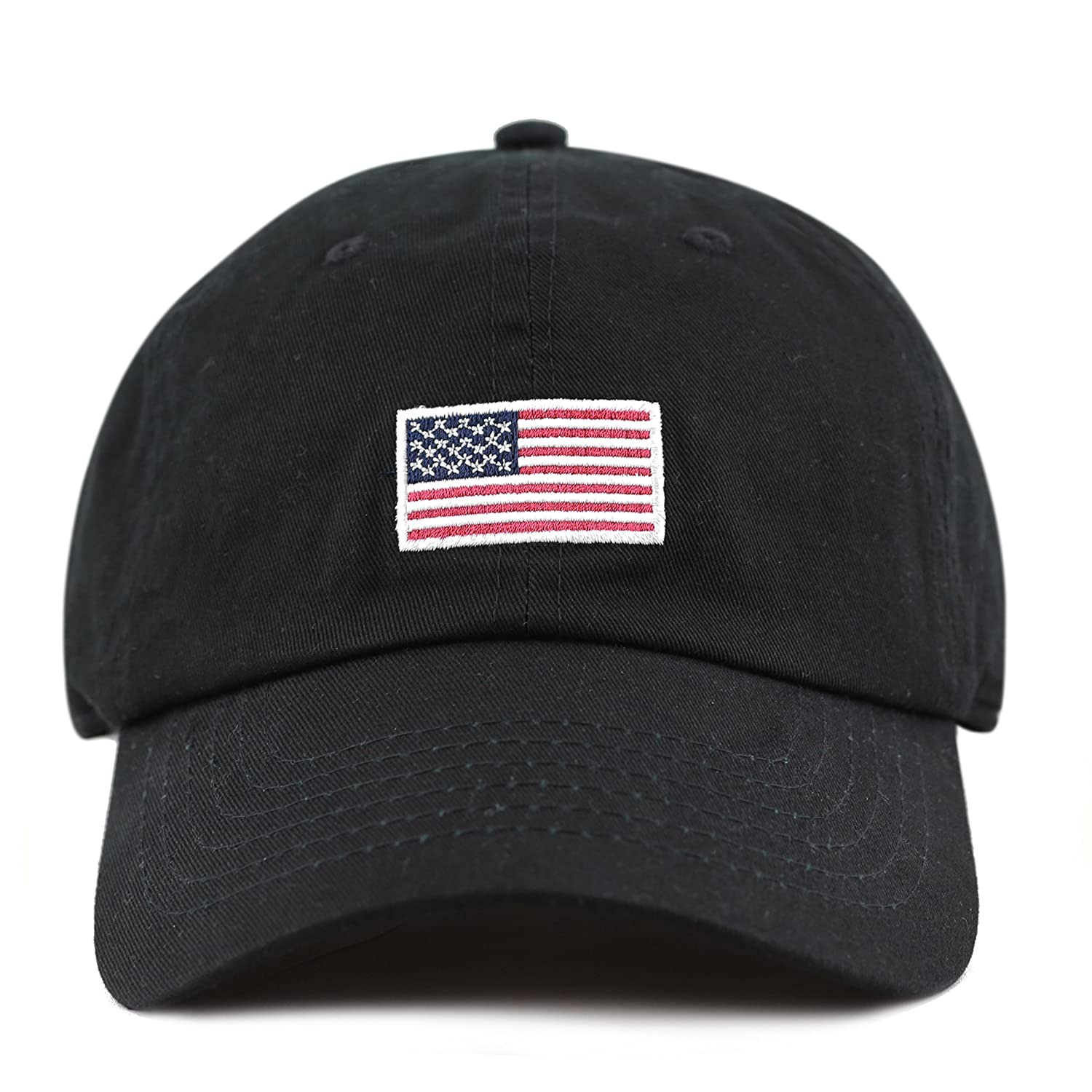 3b508d2381b THE HAT DEPOT 300n1405 USA Embroidery Cotton Cap (Flag-Black) at Amazon  Women s Clothing store