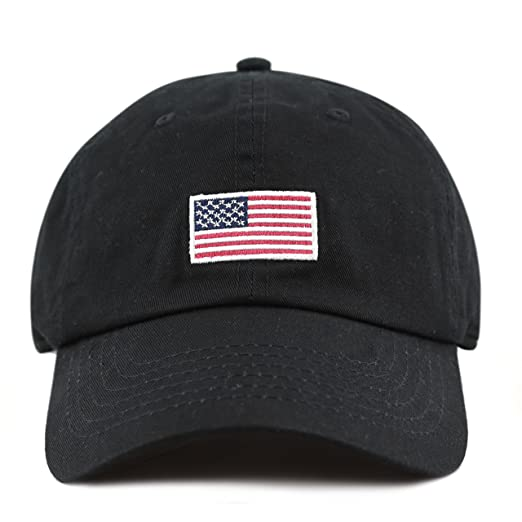 4a3f1000610 THE HAT DEPOT 300n1405 USA Embroidery Cotton Cap (Flag-Black) at ...