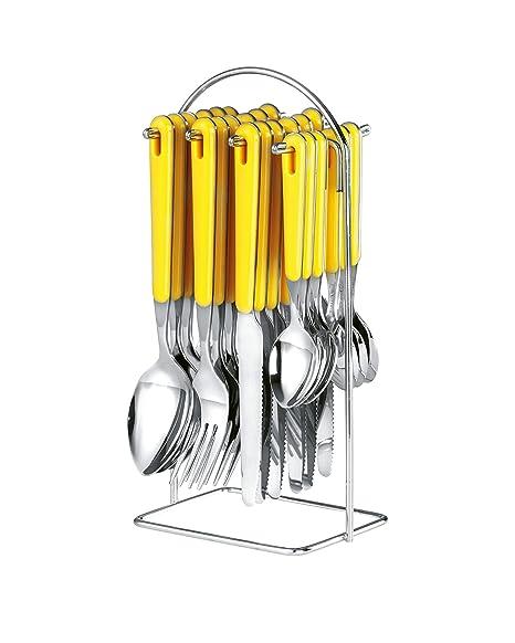 Esmeyer Bistro - Cubertería con soporte, 24 piezas, color amarillo