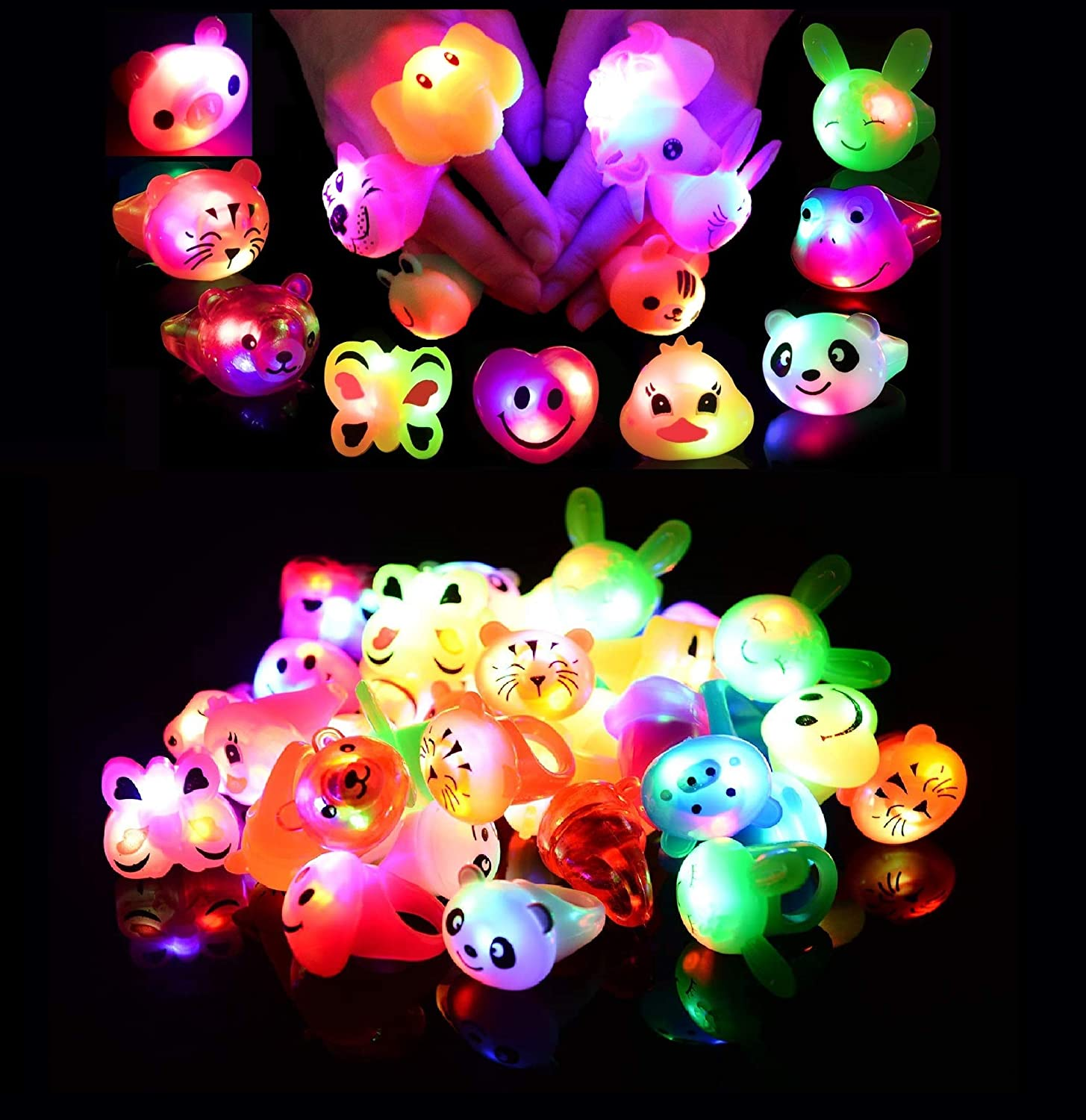 Valentine Gifts Mikulala Party Favors for Kids LED Jelly Light Up Rings Toys Bulk Glow in The Dark Party Supplies with 100 Glow Stars and 36 Bumpy Rings 9 Color 9 Shape