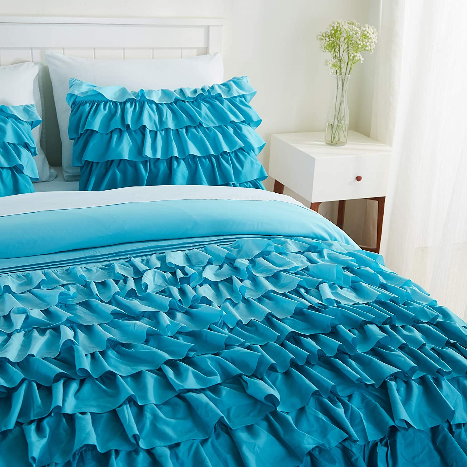 Bedding Sets Collections Twin Xl Teal Cassiel Home Gorgeous 3 Pcs Winter Waterfall Girls Set Flowing Ruffle Comforter For Teen Girl Boy Toys Games