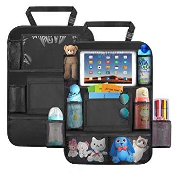 Car Organizer Back Seat,Turnraise Waterproof Kick Mats Backseat Protector with 10 Tablet Holder Universal Fit Travel Accessories for Kid /& Toddlers 11Storage Pockets for Toy Bottle Book Drink