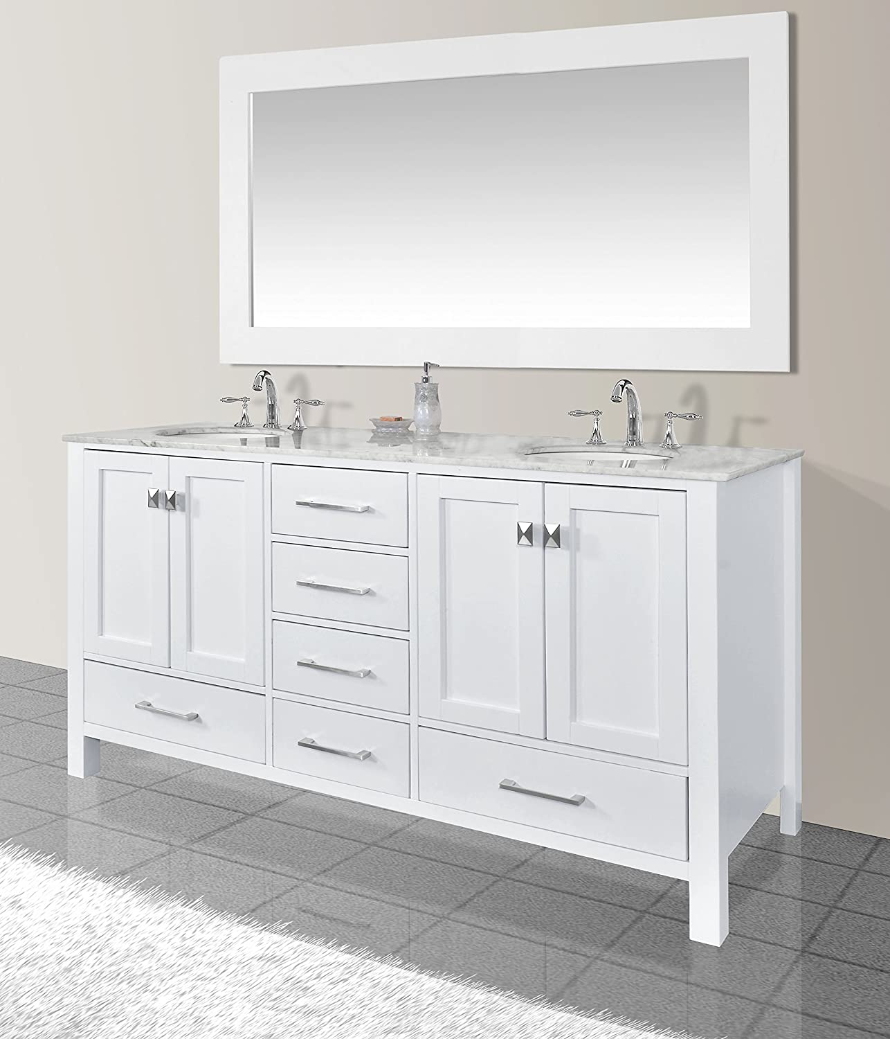 White double bathroom vanity - Stufurhome Gm 6412 72pw Cr M71 72 Inch Malibu Pure White Double Sink Bathroom Vanity With 71 Inch Mirror Amazon Com