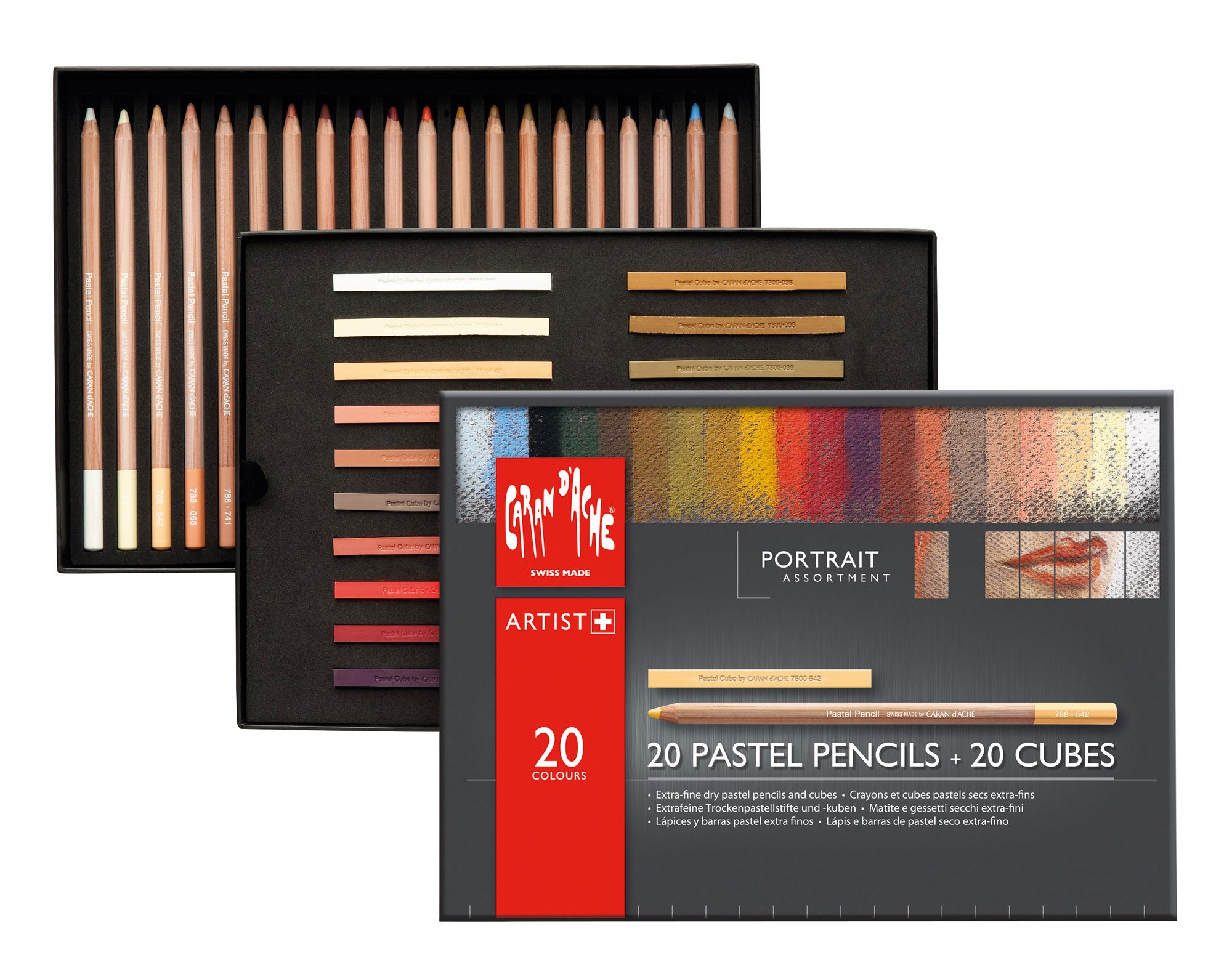 Caran D'ache 7880.520 Pastel Portrait Assortment 20 Pencils and 20 Cubes