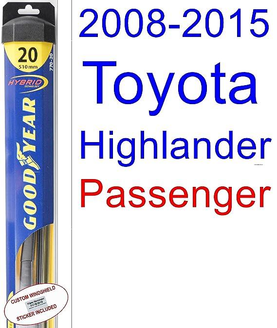 2008-2015 Toyota Highlander Wiper Blade (Rear) (Goodyear Wiper Blades-Hybrid) (2009,2010,2011,2012,2013,2014)