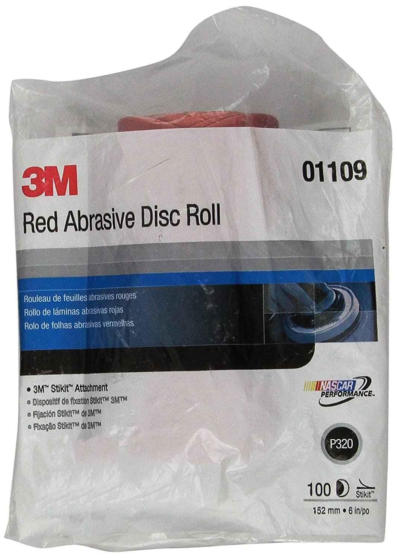 3M Red Abrasive Stikit Disc, 01109, 6 in, P320 grade, 100 discs per roll