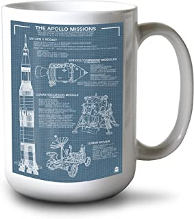 product image for Lantern Press Apollo Missions - Blueprint (15oz White Ceramic Mug)