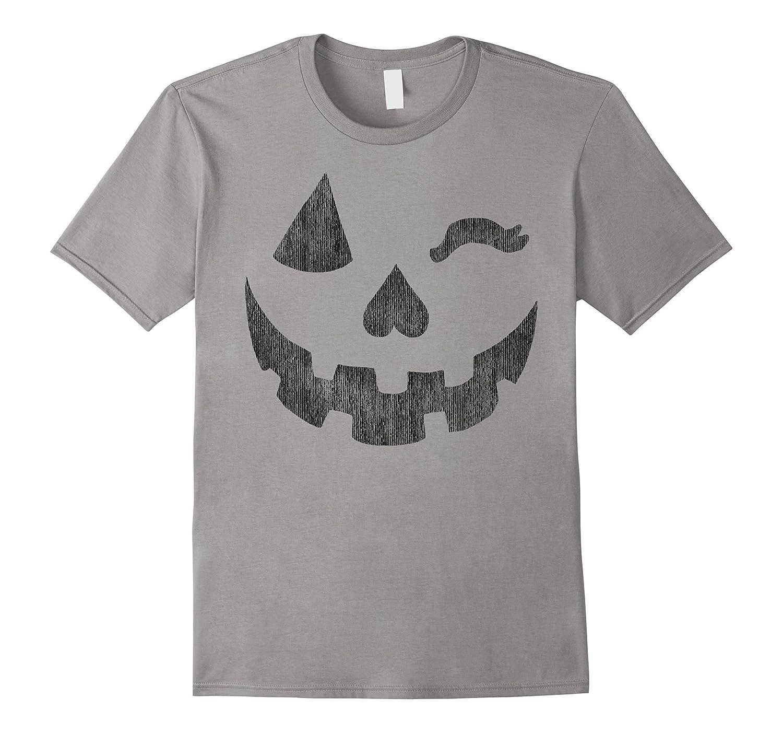 Halloween Jack-o'-Lantern Grin Pumpkin Wink Graphic T-Shirt-T-Shirt