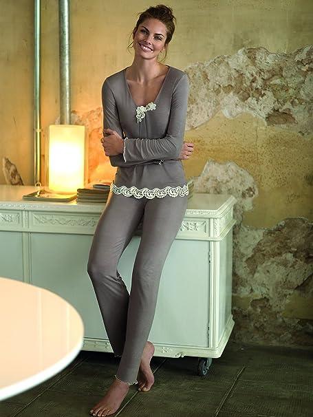 Selmark - Pijama - para Mujer marrón X-Large