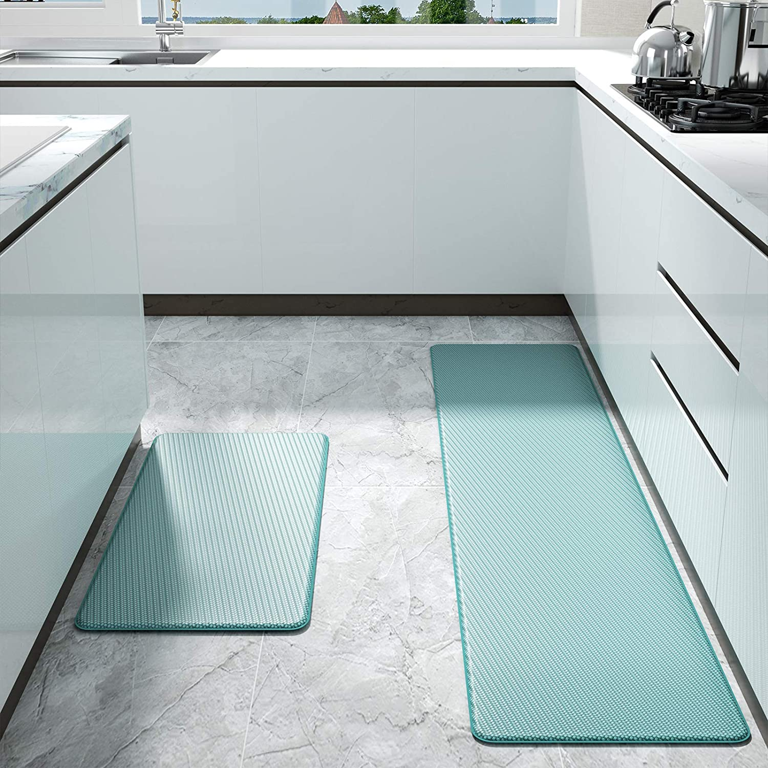 "Color&Geometry Kitchen Rug Non Skid Waterproof Kitchen Mats Cushioned Anti Fatigue Standing Mat 30""X18""+59""X18"" Cyan"