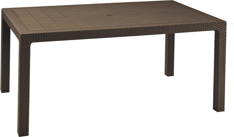 Keter Melody - Mesa comedor exterior de 6 plazas, Color marrón, 94 x 160 x 74 cm