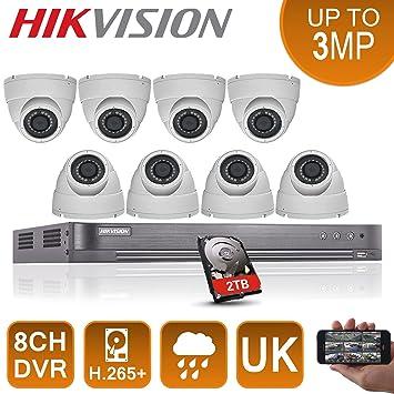 Hikvision CCTV cámaras de seguridad sistema 8 x 2,4 MP HD TVI 1080P Full HD P2P + 2 TB Disco duro oferta: Amazon.es: Bricolaje y herramientas