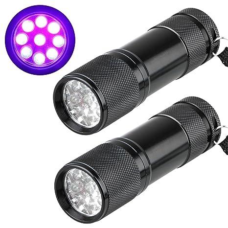 EEEkit 2-pack UV Flashlight Black Light, 12 LED 395 nM Ultraviolet Blacklight Detector